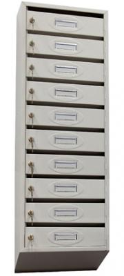 Почтовый ящик 10-ти секционный ЯПР-10 (ПО) Стандарт с окошком для номера
