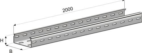 Лоток перфорированный замковый  ПЗ-500х50х2000 (1,0мм) цинк