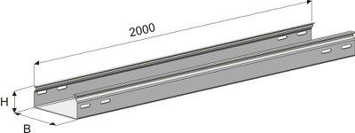 Лоток кабельный ГЗ-150х50х2000 неперфорированный замковый (0,7мм) цинк