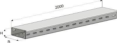 Короб ПК3-400х50х2000мм перфорированный замковый (1,0мм) цинк