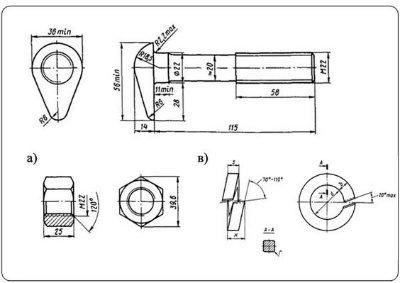 Болт стыковой М22х115 в сборе ГОСТ 11530-93