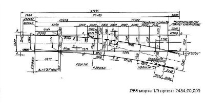 Стрелочный перевод Р-65 1/9 проект 2434 (2766)